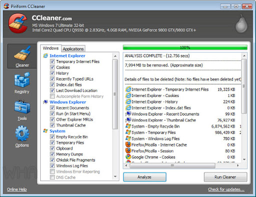 ccleaner 3.0 cleanup all junk and unwanted files and fix registry error of windows 8 and tem internet, privacy of browsers opera 11, firefox 5 and more image