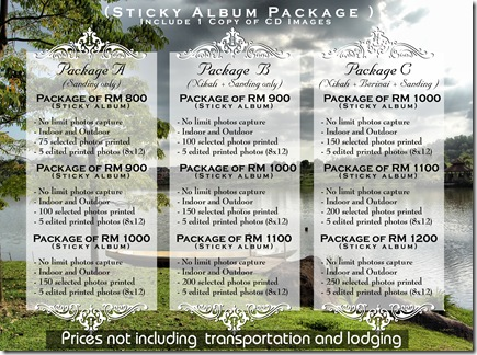 sticky album packages