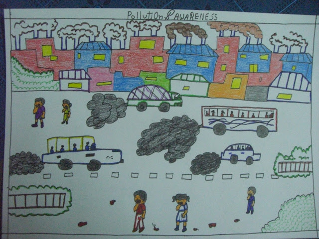 Grades 3,4,5 (2nd Prize) - Sunil Arya (Class 4, Roll no. 24, Pollution & Awareness)
