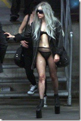 #4972389 Lady Gaga was scantily clad and wearing some sky high platforms as she hit the town in Stockholm, Sweden after a performance on May 8, 2010.  Restriction applies: USA ONLY   Fame Pictures, Inc - Santa Monica, CA, USA - +1 (310) 395-0500