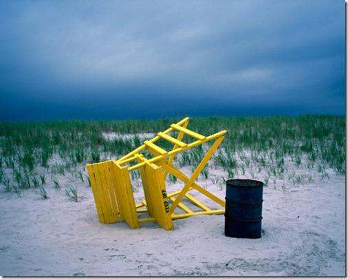 beach, ocean, dunes, clouds, sand, sky, lifeguard stand, bench, yellow