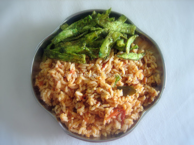 Shanthi krishnakumars cook book tomato rice 6 types tomato pulao add cooked rice and little salt gently turn it around and mix well without breaking the rice grains garnish with coriander leaves and serve ccuart Choice Image