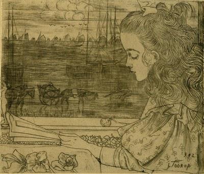 Jan Toorop, Charley lisant devant la fenêtre, 1892