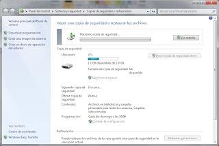 Copia de seguridad Windows 7