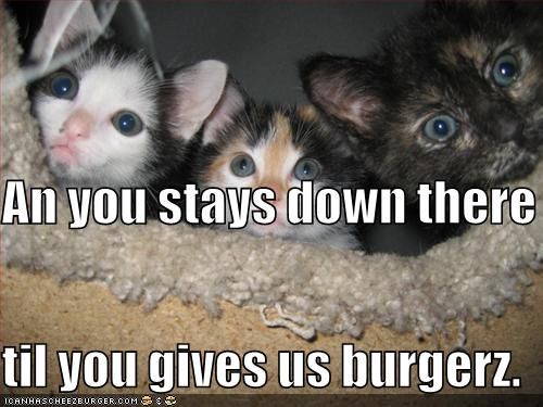 An you stays down there til you gives us burgerz