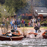 People and boats setting up at the 2009 McKenzie River Drift Boat Festival at Eagle Rock Loge