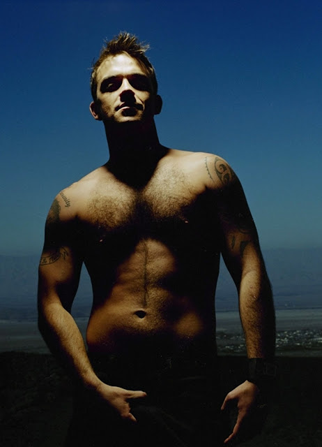 robbie williams shirtless dusk hairy chest