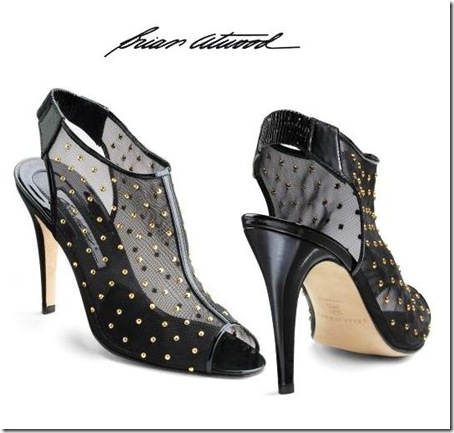 Brian Atwood Studded Mesh Ankle Boots