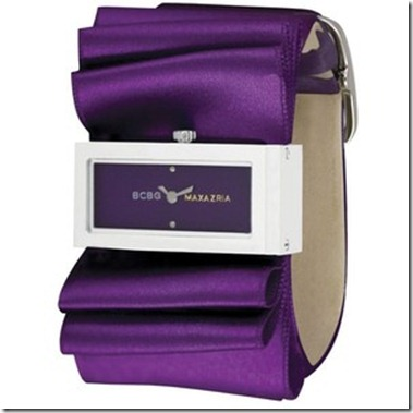 Women_s Purple Satin Bow Strap Watch