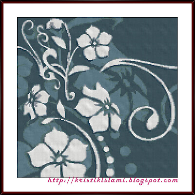 Stitched design of Floral #3 (Blue Haze)