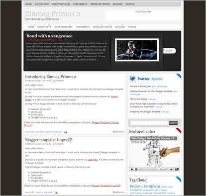 Zinmag Primus 2.0 Blogger Template