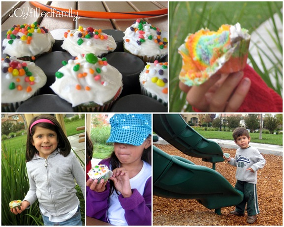 rainbow cucake collage