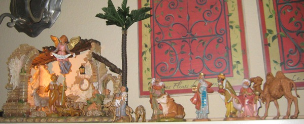nativity in fireplace