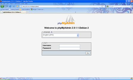 tampilan phpmyadmin gui