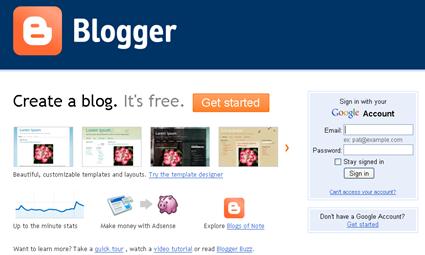 buka halaman blogger dan login