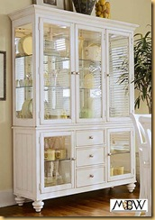 Antiqued White Lighted 3 Drawer China Cabinet Hutch Buffet
