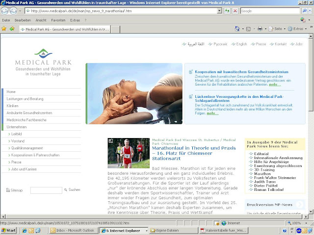 Screenshot der Medical Park Website