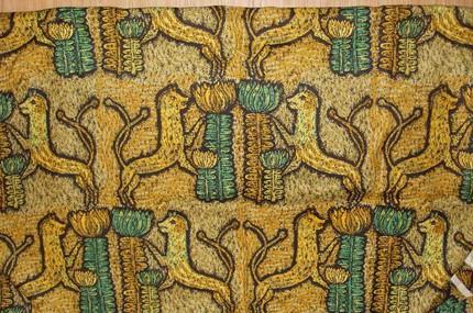 Vintage linen lion fabric