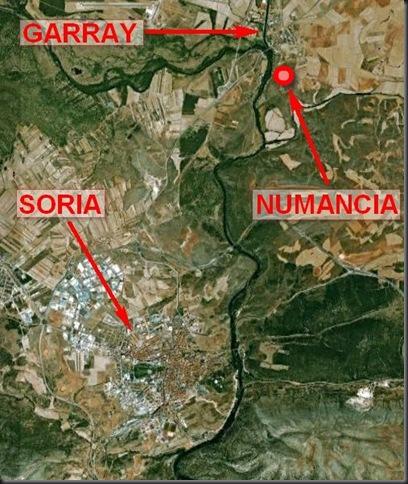 Foto satélite con la ubicación de Numancia