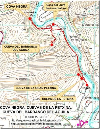 Mapa ruta Cova Negra - Xátiva