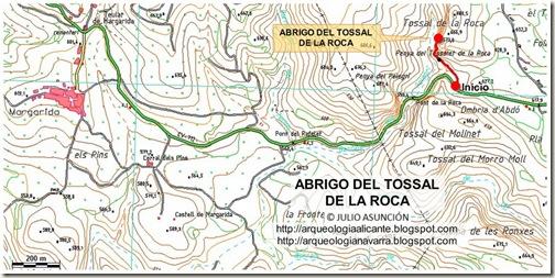 Mapa abrigo del Tossal de la Roca
