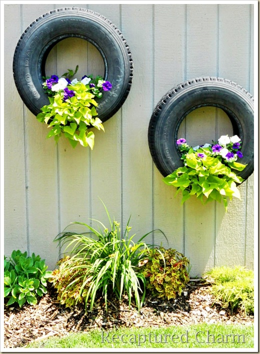 shed tires with flowers 015a