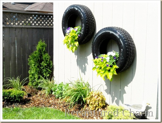 shed tires with flowers 041a