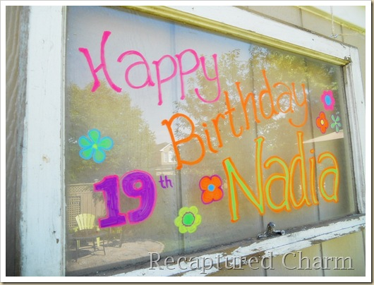 Old Window Birthday Sign 026a