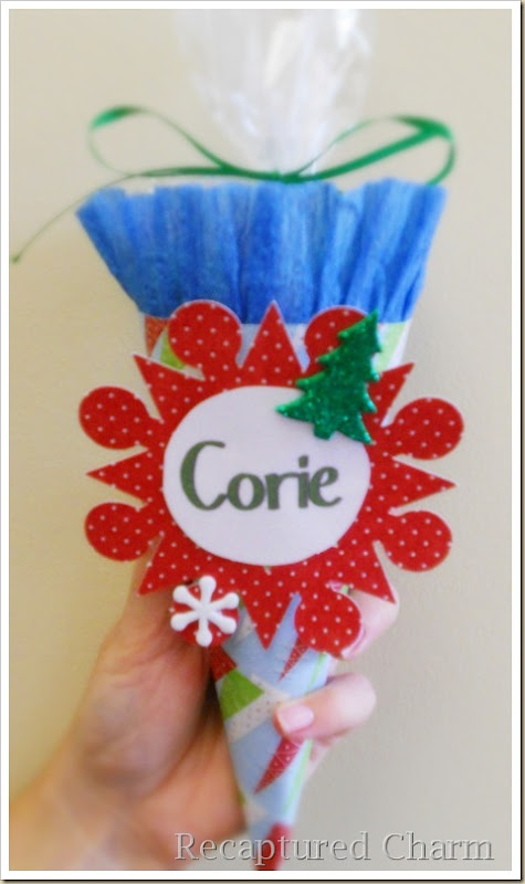 Paper Cone Party Favor Place Cards 034a