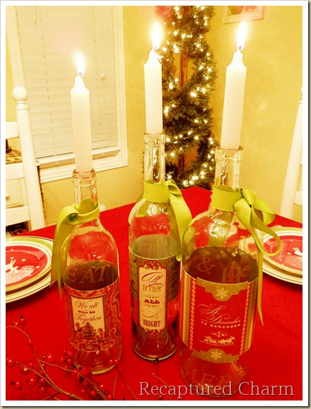 etched wine bottle candle sticks 043a