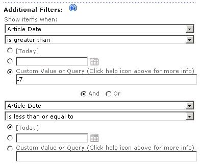 CQWP Date Filters