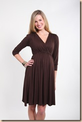 brown jersey v-neck dress