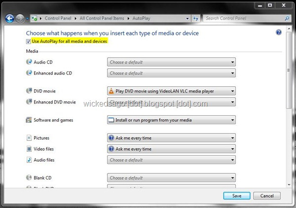 How To Disable Autoplay on USB and CD / DVD in Windows 7