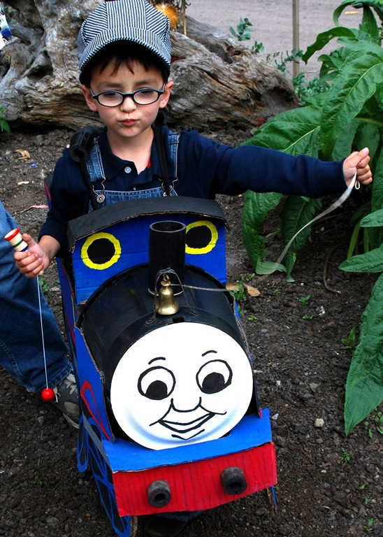 Aiden wearing a thomas costume that someone made