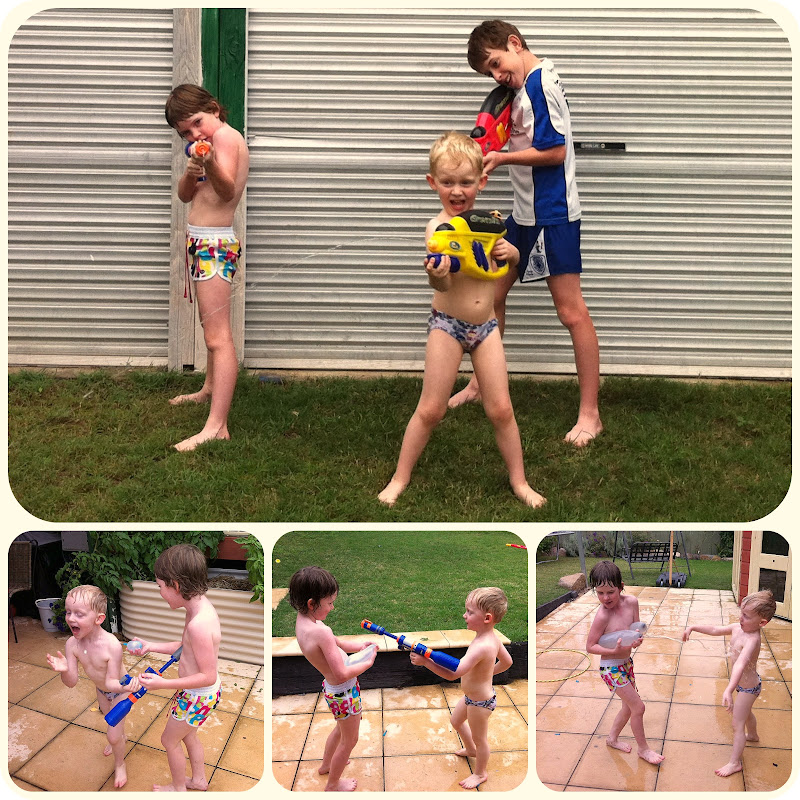 Picnik collage water fight 2