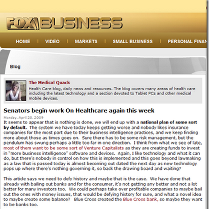 Medical Quack Today on Fox Business News – Senators working on Healthcare again…