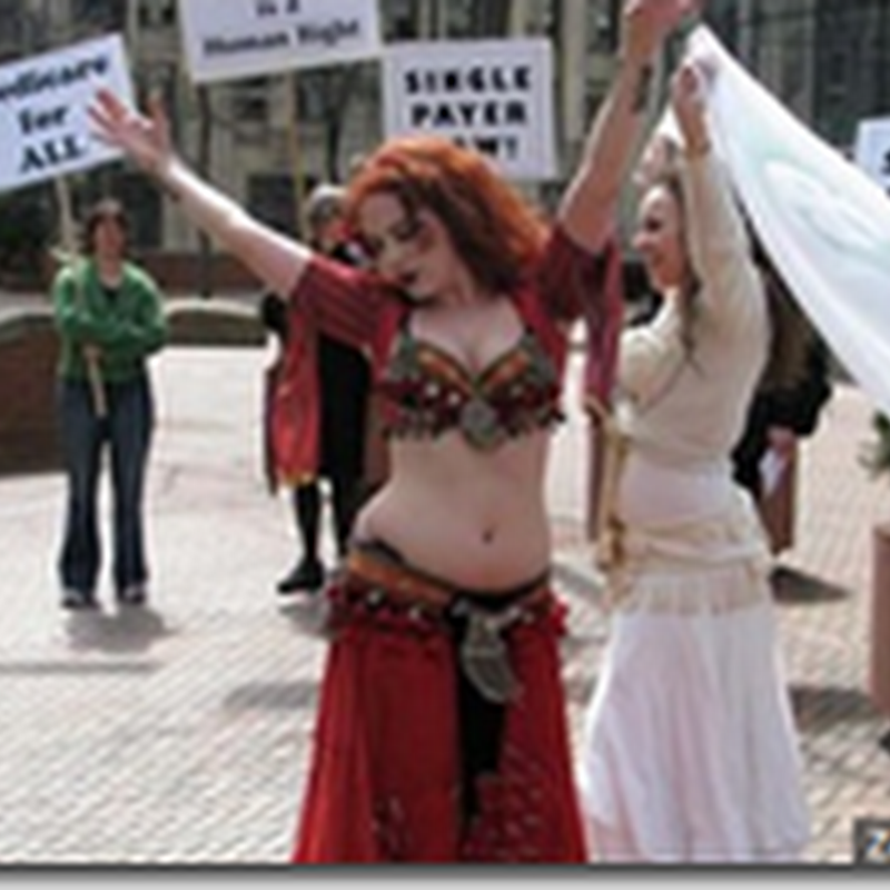 Belly dancers Rally for Better Health Care in Seattle
