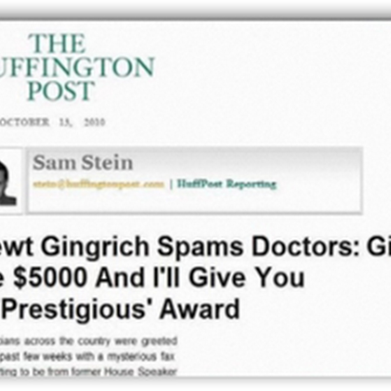 Newt Gingrich Scams  Doctors With Fake Prize Awards That Costs $5000