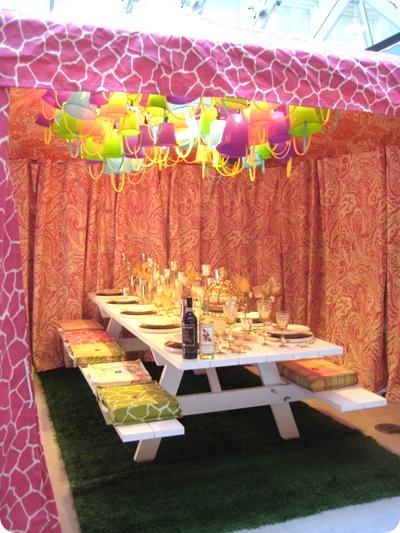 pink tent pails zebra print