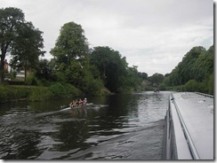 Overtaken by a coxless 4 on the Severn