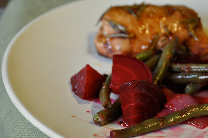 roasted beets with green beans