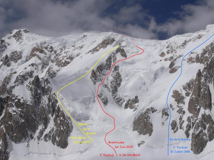 Un tranquillo weekend di paura - parete Sud del Monte Bianco Brenva%20Traces