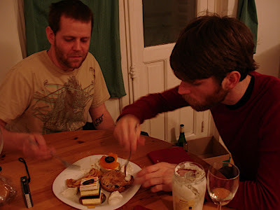 Jefe and Josh eating desert from Claud Lafond, the local high-end pastry shop