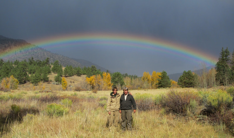 Jack and Flowski in Colorado rainbow