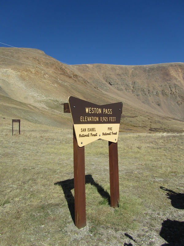 sign at the top of weston pass in colorado