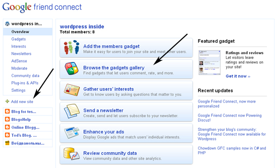 Google Friend Connect wordpress блог