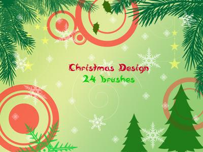 рождественский дизайн кисти