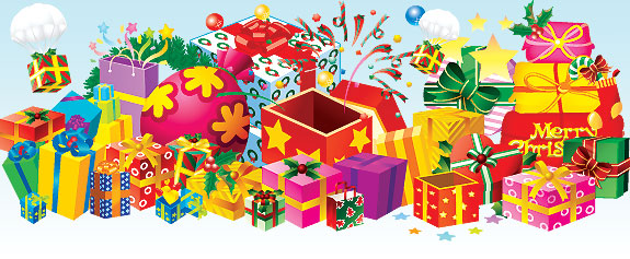 картинки вектор новый год подарки