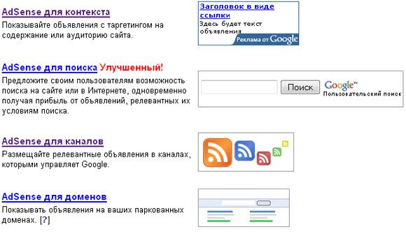 Google AdSense типы объявлений