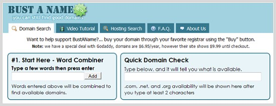 Bust A Name генератор доменных имен